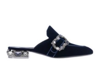 Casadei Embellished-Heel Velvet Mules