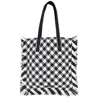 Michael Kors Collection Maldives Gingham Woven Leather Tote Bag