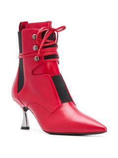 Casadei Red Leather Lace-Up Ankle Boots