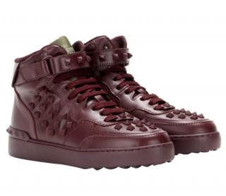 Valentino Rockstud Burgundy Leather High-Top Trainers