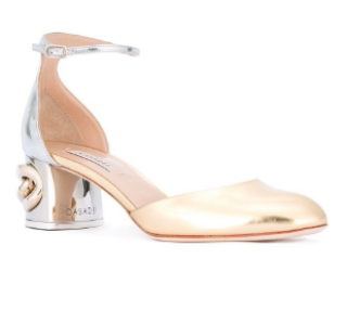 Casadei Chain-Heel Metallic Leather Mary Jane Pumps