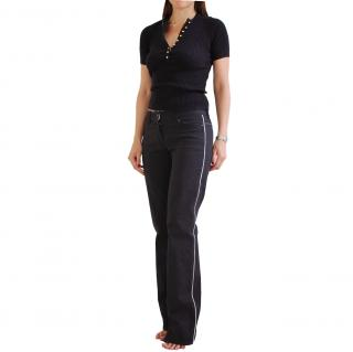 Donna Karan Contrast-Trim Jeans