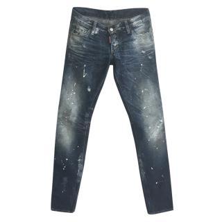 Dsquared Jennifer Paint Splat-Print Slim-Fit Jeans
