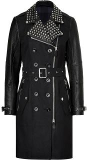 Burberry Studded Leather-Sleeved Trench Coat
