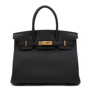 a0780da5b908 Hermes Noir Togo Leather 30cm Birkin - Rare Rose Gold Hardware