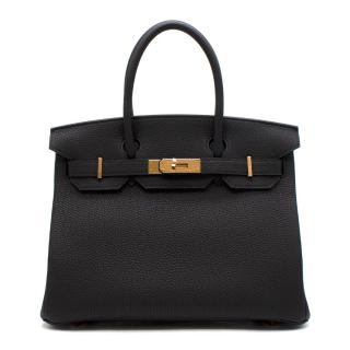 Hermes Noir Togo Leather 30cm Birkin - Rare Rose Gold Hardware