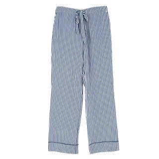 Equipment Femme White and Blue Striped Silk Trousers
