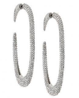 Saint Laurent crystal embellished hoop earrings