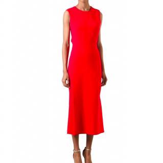 Victoria Beckham Red Cross-back Midi Dress