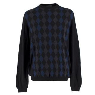Prada Men's Black Diamond-Intarsia Sweater