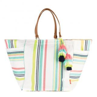 Sunuva Multicoloured Striped Tassel Beach Bag
