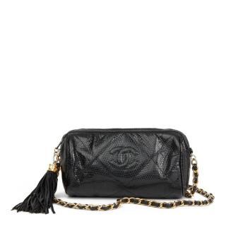 Chanel Vintage Lizard Fringed Pochette Shoulder Bag