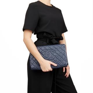 Chanel Caviar Leather Blue Frame Clutch Bag