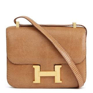 Hermes Vintage Lizard Sesame Constance 23 Bag