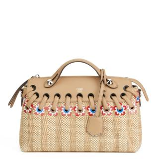 FENDI  Medium Floral Leather & Raffia By The Way Bag
