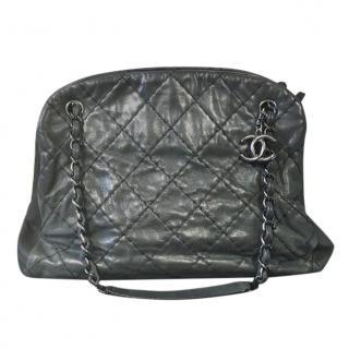Chanel Black Grey Just Mademoiselle Bowling bag