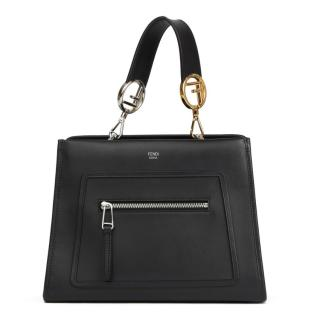 Fendi Small Black Leather Runaway Tote