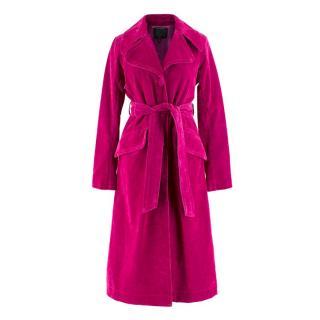 Marc Jacobs Fuchsia Long Velvet Trench Coat