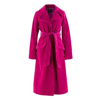 Marc Jacobs Fuchsia Long Velvet Trench Coat