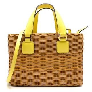 Mark Cross Manray Yellow Raffia Tote Bag - New Season