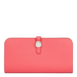 Hermes Recto-Verso Rose Azalee Leather Dogon Wallet