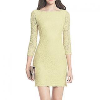Diane von Furstenberg Yellow Lace Dress