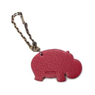 Hermes Red Hippopotamus Leather Key Chain/Bag Charm