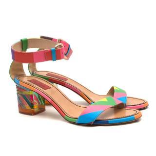 Valentino Rainbow Acrylic Block Heel Sandals