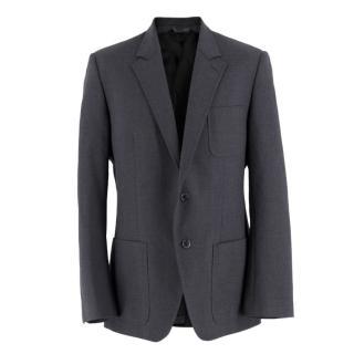 Dolce & Gabbana Grey Wool Basket-Weave Blazer