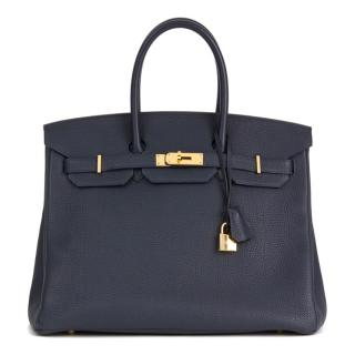 official photos e5f90 7d12f Hermes Togo Leather Birkin - Bleu Nuit 35cms