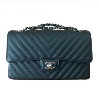 CHANEL black leather rare chevron flapbag