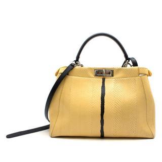 Fendi Peekaboo Regular Yellow Python Handbag