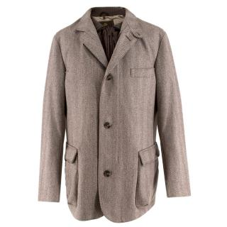 NG (Zoe O) Loro Piana Herringbone-Tweed Coat with Detachable Gilet