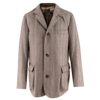 Loro Piana Herringbone-Tweed Coat with Detachable Gilet
