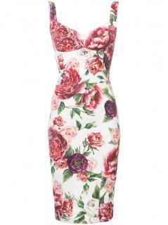 Dolce & Gabbana Peony-Print Bustier Dress