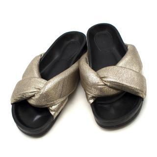 Chloe Leather Crisscross Slide Sandals