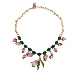 Dolce & Gabbana runway enamel and crystal necklace