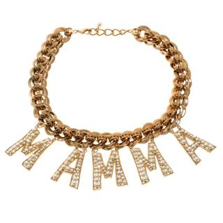Dolce & Gabbana Runway MAMA faux pearl/gold tone necklace