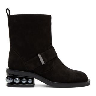 Nicholas Kirkwood Black Suede Casati Pearl Biker Boots