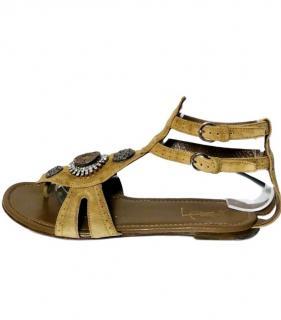 YSL beige embellished flat suede sandals