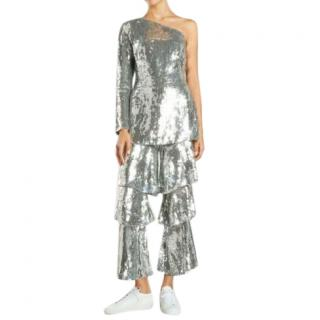 Osman Silver Tiered Sequin One Shoulder Jumpsuit
