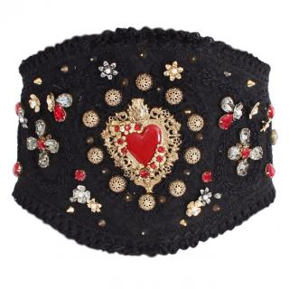 Dolce & Gabbana Runway Brocade Crystal Embellished Belt