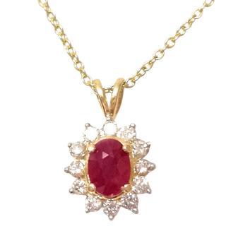 Bespoke 18ct Gold Ruby & Diamond Pendant Necklace