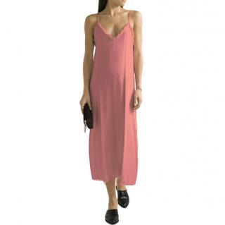 Racquel Allegra Frayed textured-crepe midi dress