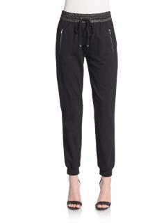 Diane Von Furstenberg Liv Leather Detail Track Pants