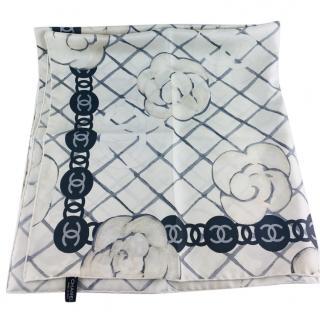 Chanel White & Blue Silk 90cm Scarf