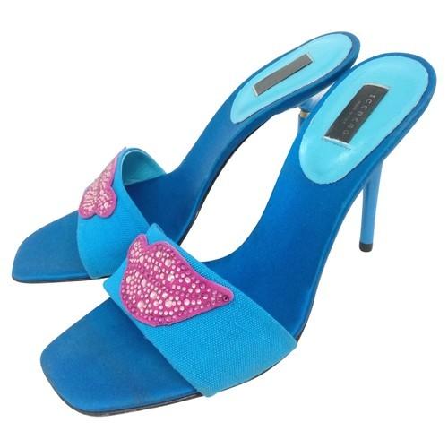 Iceberg Lip Embellished Blue Sandals