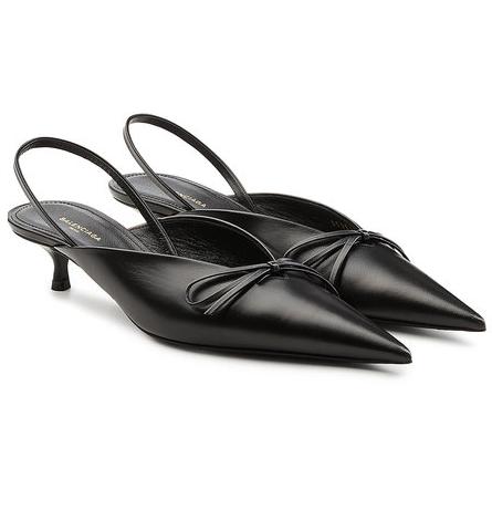 Balenciaga Knife Leather Slingback Kitten Heel Sandals