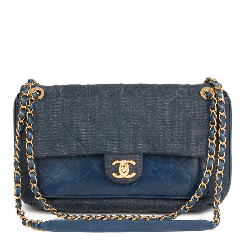 928dc6a1a0a68a Chanel Denim Leather Blue Classic Flap Bag | HEWI London
