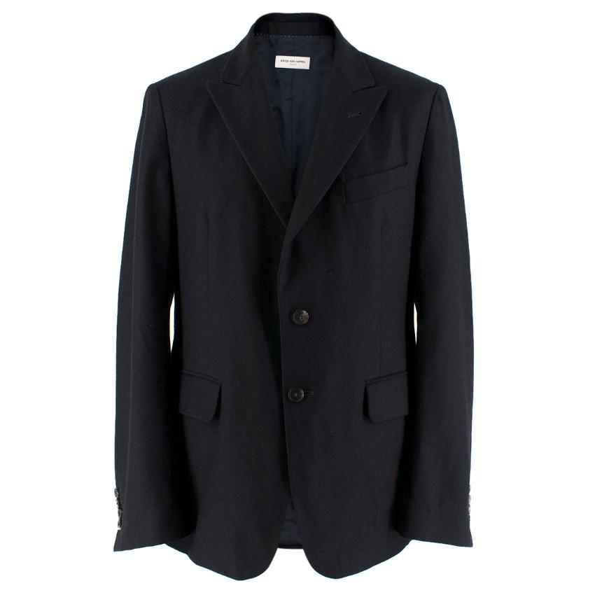 Dries Van Noten Navy Wool and Cashmere-Blend Jacket